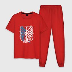 Пижама хлопковая мужская Разведкорпус цвета красный — фото 1