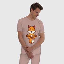 Пижама хлопковая мужская Лисиная йога цвета пыльно-розовый — фото 2