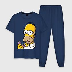 Пижама хлопковая мужская Гомер с Пончиком цвета тёмно-синий — фото 1