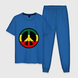 Пижама хлопковая мужская Peace Symbol цвета синий — фото 1