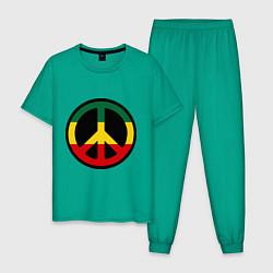 Пижама хлопковая мужская Peace Symbol цвета зеленый — фото 1