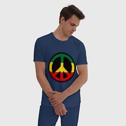 Пижама хлопковая мужская Peace Symbol цвета тёмно-синий — фото 2