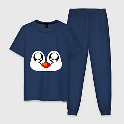 Пижама хлопковая мужская Морда пингвина цвета тёмно-синий — фото 1