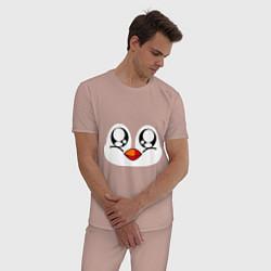Пижама хлопковая мужская Морда пингвина цвета пыльно-розовый — фото 2