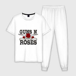 Пижама хлопковая мужская Guns n Roses: rock'n'roll цвета белый — фото 1
