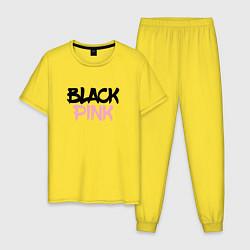 Пижама хлопковая мужская Black Pink Graffiti цвета желтый — фото 1