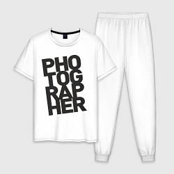 Пижама хлопковая мужская Фотограф цвета белый — фото 1