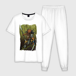 Пижама хлопковая мужская Ярость хищника цвета белый — фото 1