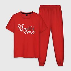 Пижама хлопковая мужская Beautiful calligraphy цвета красный — фото 1