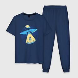 Пижама хлопковая мужская Пришельцы цвета тёмно-синий — фото 1