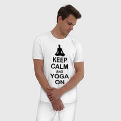 Пижама хлопковая мужская Keep Calm & Yoga On цвета белый — фото 2