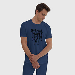 Пижама хлопковая мужская Normal people scare me цвета тёмно-синий — фото 2