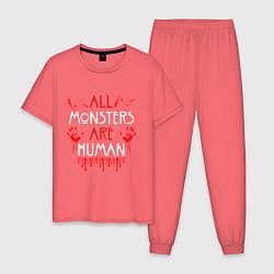 Пижама хлопковая мужская ALL MONSTERS ARE HUMAN цвета коралловый — фото 1