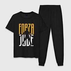 Пижама хлопковая мужская Forza Juve цвета черный — фото 1