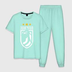 Пижама хлопковая мужская Juventus: 3 stars цвета мятный — фото 1
