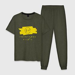 Пижама хлопковая мужская 21 Top: Yellow Trench цвета меланж-хаки — фото 1