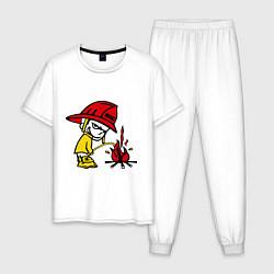 Пижама хлопковая мужская Ручной пожарник цвета белый — фото 1