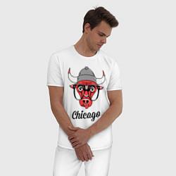 Пижама хлопковая мужская Chicago SWAG цвета белый — фото 2