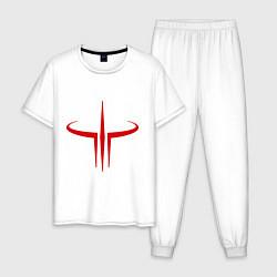 Пижама хлопковая мужская Quake logo цвета белый — фото 1