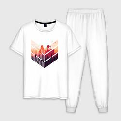 Пижама хлопковая мужская Путешествия цвета белый — фото 1