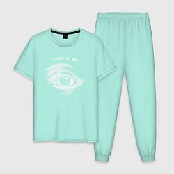 Пижама хлопковая мужская Смотри на меня цвета мятный — фото 1