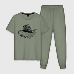 Пижама хлопковая мужская Whale forest цвета авокадо — фото 1