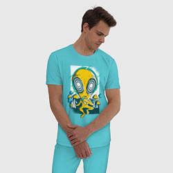 Пижама хлопковая мужская Пришелец цвета бирюзовый — фото 2