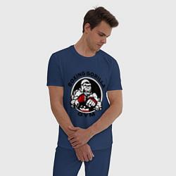 Пижама хлопковая мужская Boxing gorilla gym цвета тёмно-синий — фото 2