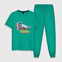 Пижама хлопковая мужская Back to the future цвета зеленый — фото 1