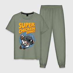 Пижама хлопковая мужская Super chiken dinner цвета авокадо — фото 1