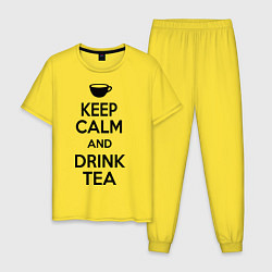 Пижама хлопковая мужская Keep Calm & Drink Tea цвета желтый — фото 1