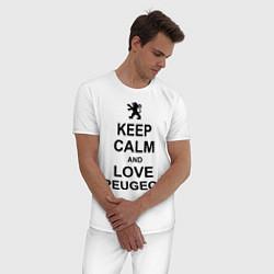 Пижама хлопковая мужская Keep Calm & Love Peugeot цвета белый — фото 2