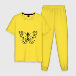 Пижама хлопковая мужская Полигональная бабочка цвета желтый — фото 1