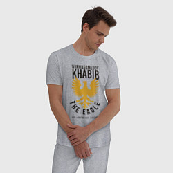 Пижама хлопковая мужская Khabib: The Eagle цвета меланж — фото 2