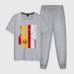 Пижама хлопковая мужская Spain: Russia 2018 цвета меланж — фото 1