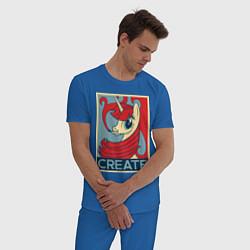 Пижама хлопковая мужская MLP: Create цвета синий — фото 2