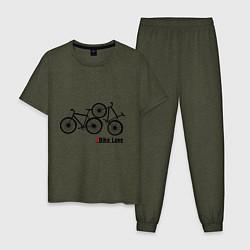 Пижама хлопковая мужская Bike Love цвета меланж-хаки — фото 1