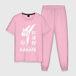 Пижама хлопковая мужская Шотокан Каратэ цвета светло-розовый — фото 1