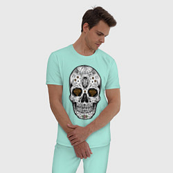Пижама хлопковая мужская Golden Skull цвета мятный — фото 2