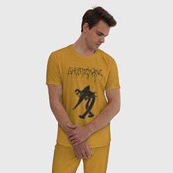 Пижама хлопковая мужская Ghostemane 3 цвета горчичный — фото 2