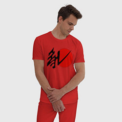 Пижама хлопковая мужская Литл Гавана цвета красный — фото 2