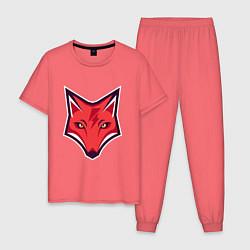 Пижама хлопковая мужская Electro Fox цвета коралловый — фото 1