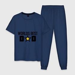 Пижама хлопковая мужская Worlds Best Dad цвета тёмно-синий — фото 1