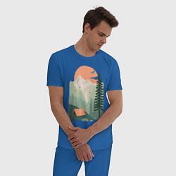 Пижама хлопковая мужская Wood Adventure цвета синий — фото 2