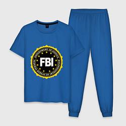 Пижама хлопковая мужская FBI Departament цвета синий — фото 1