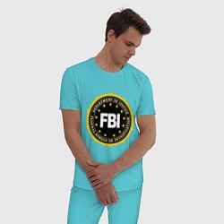 Пижама хлопковая мужская FBI Departament цвета бирюзовый — фото 2