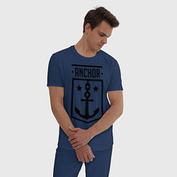 Пижама хлопковая мужская Anchor Shield цвета тёмно-синий — фото 2