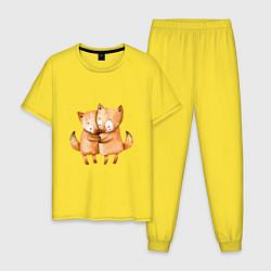 Пижама хлопковая мужская Влюбленные лисята цвета желтый — фото 1