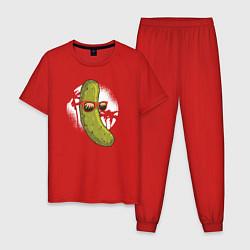 Пижама хлопковая мужская Огурец на пляже цвета красный — фото 1