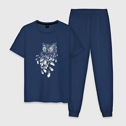 Пижама хлопковая мужская Сова и перья цвета тёмно-синий — фото 1